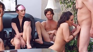 interracial sex orgy at the office