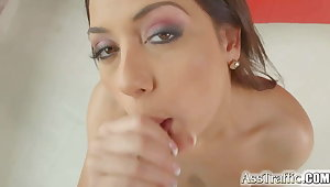 She takes hard anal gapes plus swallows cum