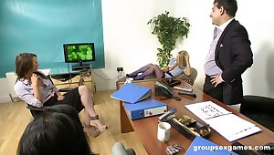Boss fucks all three of his secretaries including Stacey Lacey