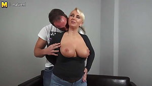 Sexy big breasted German female parent fucking young boy
