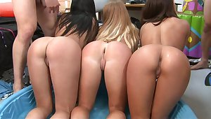 Three total teen college asses in indoor pool party