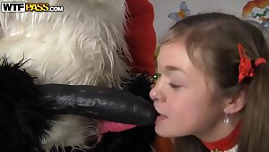 Seductive baby has anal sex fro Santa Panda