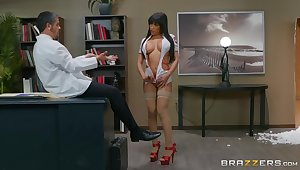 Busty nurse shows proper qualities during hard shag
