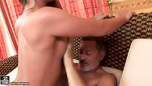 Teen Cathy Vault of heaven has conscientious screw with old man