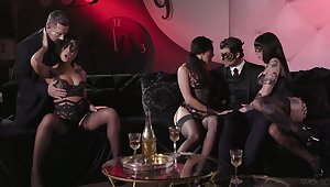 Carnival night-time d�bris up with ebullient group sex in masks