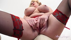 Milf Camilla - mature fatty with huge boobs rubbing clit