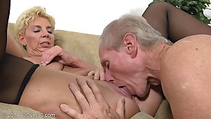 Older Couple Humping - GILF together with her spouse in homemade porn pellicle with cumshot