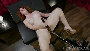 Lubed pussy of a bit plump redhead Barbary Rose is properly teased with toy