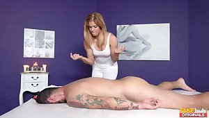 Hot masseuse Chrissy gets her dear cunt drilled by a hung client