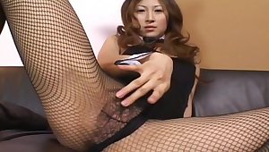 Chihiro Hara wears bunny ears and fishnets for ages c in depth masturbating