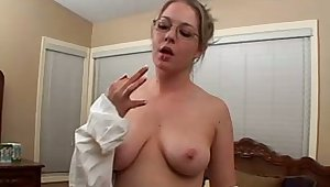 Amazing nerdy floozie exposes will not hear of obese boobies increased by masturbates herself