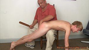 Twink gets spanked and ass fucked by his step dad