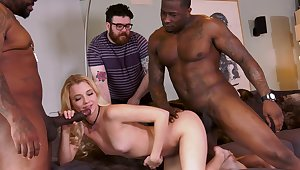 Extreme cuckold with Riley Star and two black hunks
