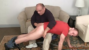 Old man ass spanks young twink before anal sex